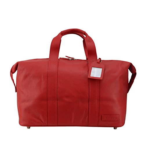 Red Manzoni Red Leather Overnighter - MRP:- 13000\/-