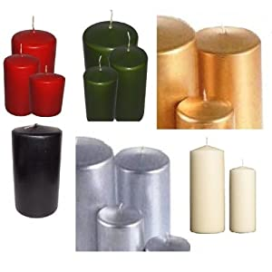 12 x Premium Quality Pillar Church Candles Unscented BULK Large Pack Weddings by Britwear