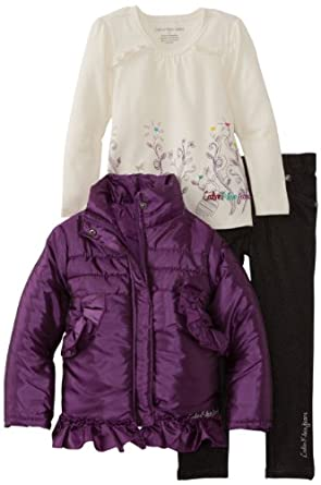 Calvin Klein Girls 2-6X Toddler Jacket With Tee And Dark Gray Jean, Purple, 3T