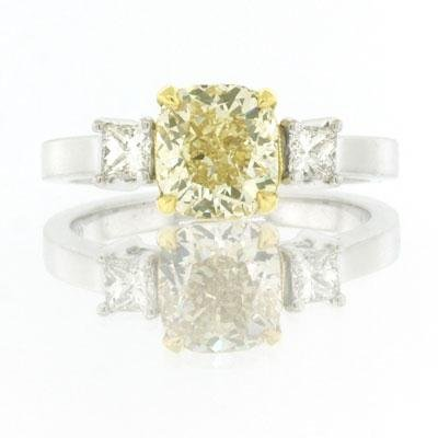 1.93ct Fancy Yellow Cushion Cut Diamond Engagement