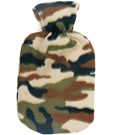 Warm Tradition Camouflage Print Fleece Covered Hot Water Bottle- Bottle made in Germany, Cover made in USA