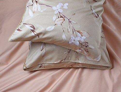 Vintage Botanical Flower Print Bedding 400tc Cotton Sateen Romantic Floral Scarf Duvet Cover 3pc Set Colorful Antique Drawing of Summer Lilies Daisy Blossoms (King, Natural) 5