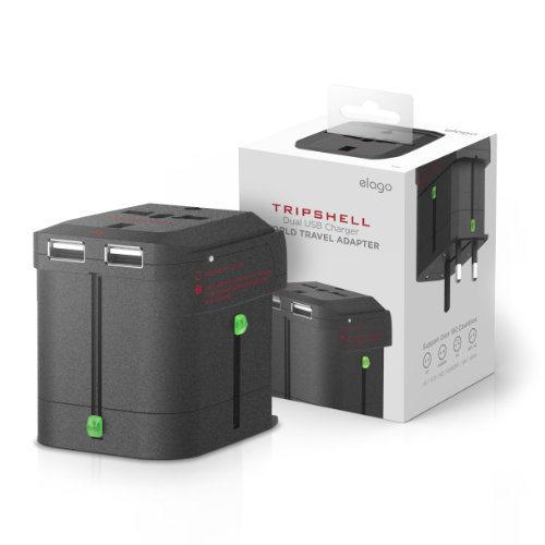 elago Tripshell WORLD TRAVEL ADAPTER - Built-in Dual USB Charger