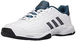 adidas Performance Men\'s Barricade Court 2 Wide Tennis Shoe,White/Iron Metallic Grey/Black,12.5 M US