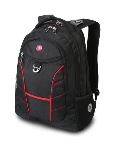 SwissGear 1775 Black Backpack with Red Accents