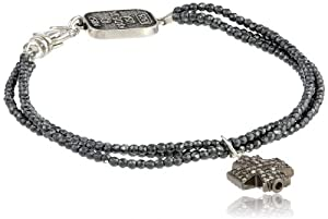 King Baby 3 Strand Hematite Pave Diamond Cross Bracelet, 7.5