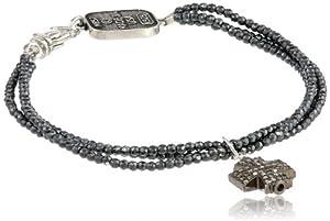 King Baby 3 Strand Hematite Pave Diamond Cross Bracelet, 7.5