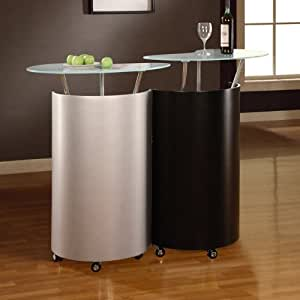 Global Furniture Usa M777 Medium Density Fiberboard Home Bar Black Silver