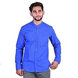 CORTOS Blue 100% Cotton Plain Regular fit casual Solid Shirt (Size: XXX-Large)