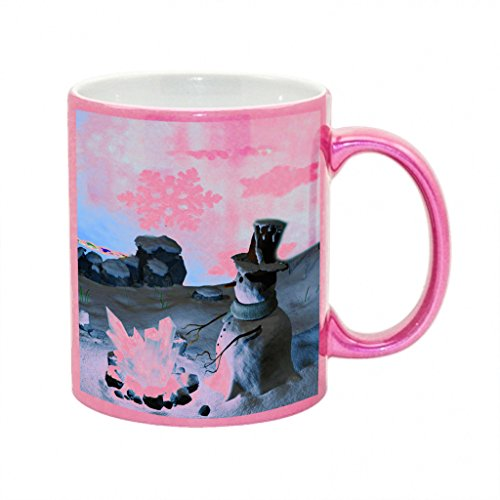 Snowman Crystal Fire Metallic Pink Sparkle Coffee Mug (Pink Fire Crystals compare prices)