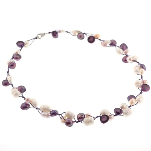 Freshwater Pearl Fashion Necklace - Pink, Purple - 18'' Length, 7-16mm Pearls