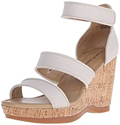 Hush Puppies Women\'s Elliston Lucca Platform Sandal, Off White Leather, 8 M US