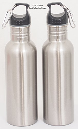 Best Stainless Steel BPA Free Water Slim Bottle Value Pack with Free Carabiner and Leak Proof Cap, Hygienic, Durable and Ecofriendly Hydration Source for Sports and Outdoor Activity (Water Filter Bottle Metal compare prices)