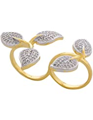 JDX Gold Plated American Diamond Ring For Girls And Women_Adjustable