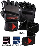 Gungfu Century MMA Leather Wrap Bag Gloves – Color: Black, Size: Medium