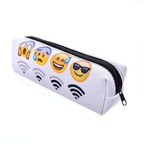 Trousse scolaire Sac a Crayon Trousse de toilette Trousse en cuir Plumier Organisateur Emoji WiFi [008]