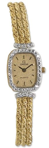 Omega 14kt Gold Diamond Womens Vintage Watch OMW1002