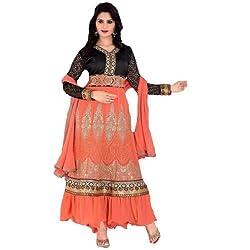 StarMart Womens Georgette Anarkali Embroidered Unstitched Salwar Kameez Material - 36008