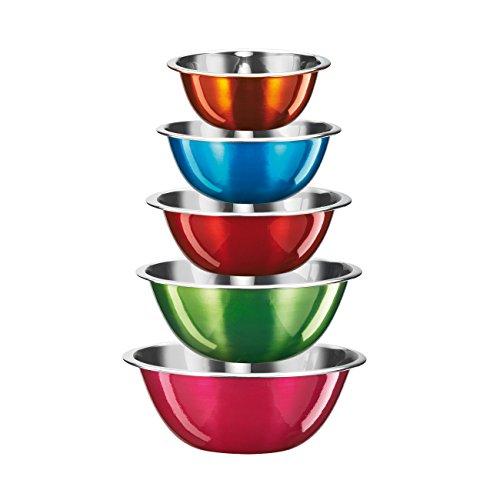 King S1137 Cool Lot de 5 saladiers Multicolore transparent brillant Ø 16 / 18 / 20 / 22 / 24 cm