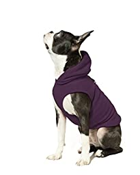 Gooby Every Day Fleece Cold Weather Dog Vest with Hoodie for Small Dogs, Plum, X-Small