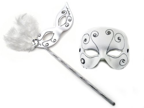 Elegant Glitz-Masquerade Glitz White Masquerade Masks for a Couple