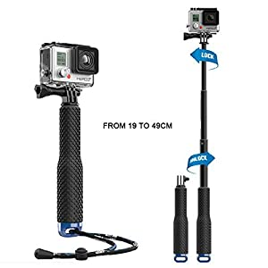 Mystery Adjustable Aluminum Telescoping Monopod Handheld Extension Selfie Stick for Gopro Hero 4 3+ 3 2 SJ4000 SJ5000 Xiaomi Action Cameras (7-19 inch)