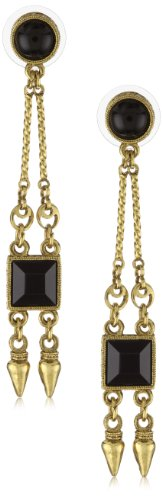 Antiquities Couture Art Deco Gold-Tone and Black Long Drop Earrings