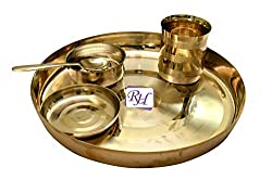 Rastogi Handicrafts bronze Dinner set (Kansa Thali)