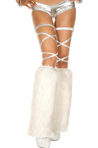 Rave Wonderland Women's White Leg Warmers Fluffies One Size