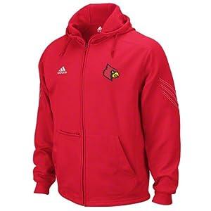 NCAA adidas Louisville Cardinals Primary Logo Pindot Zip Performance Hoodie - Red by adidas