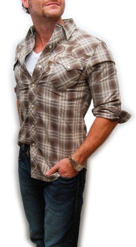 Ralph Lauren Double Rl Rrl Mens Western Vintage Cowboy Plaid Shirt Brown Large