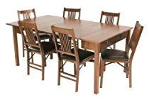 Big Sale Mission Style Expanding Dining Table in Warm Fruitwood Finish