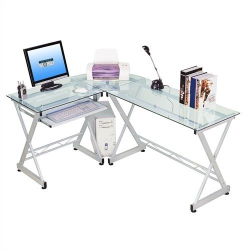 Techni Mobili L-Shaped Computer Desk and Workstation, Clear and Silver