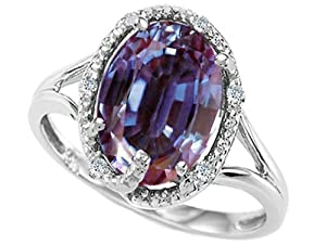 Tommaso Design Oval 10x8mm Simulated Alexandrite and Diamond Ring 14k Size 4