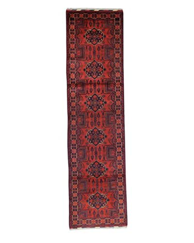 Bashian Rugs Hand-Knotted Afghan Rug, Red, 2' 9 x 10' 4 Runner