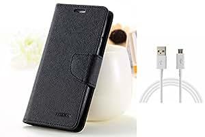 ASG Premium Flip Cover For Lenovo A6000 (Black)+ Data Cable (White)