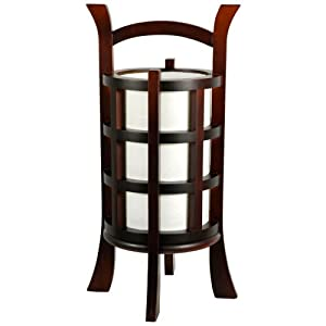 Oriental Furniture Inexpensive Meditation Indirect Lighting -1.5-Feet Kharbarosk Japanese Lantern Oriental Table Lamp, Walnut