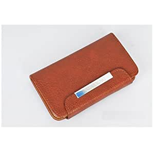 iPhone 5 Flip Wallet Holster Leather Cover Carrying Sleeve Pouch Case with Belt Clip with Free Screen Protector - Brown Color