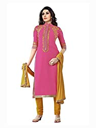 Pink Embroidered Pure Semi Georgette Salwar Suit