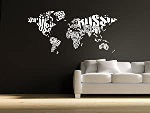 Amazon Com World Map In Typography Wall Decal Stickers