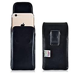 iPhone 6 Plus Holster, Turtleback Vertical Apple iPhone 6 Plus Belt Case, Executive Metal Belt Clip, Black Leather Pouch, Made in USA