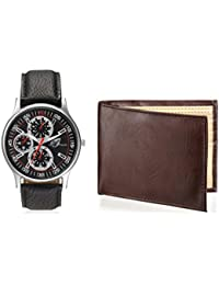 Arum Latest Design In Black Leather Watch&Brown Wallet For Men