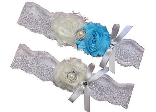 Ivory Beach Blue Lace Wedding Garter Set with Pearl & Rhinestone & Bow Prom Gift