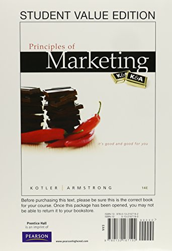 Principles of Marketing, Student Value Edition Plus NEW MyMarketingLab with Pearson eText -- Access Card Package (14th E