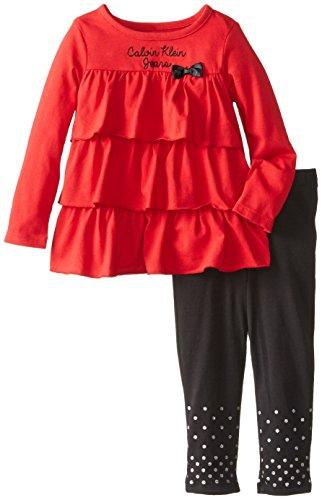 Calvin Klein Little Girls' Ruffle Top Set, Red, 3T front-911115