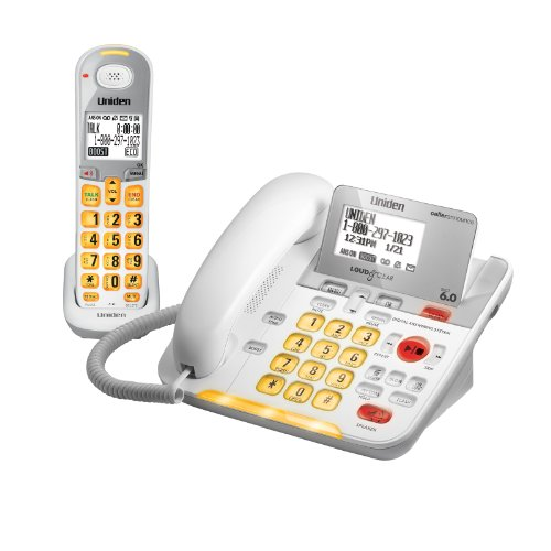 D3098 DECT 6.0 Expandable Corded/Cordless Phone withCaller ID and Answering System, White, 1 Handset and 1 Base (Uniden Answering Machine compare prices)