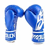 PU Leather MMA Gloves Fighting Boxing Gloves Sparring Training Gloves Muay Thai Kick Boxing Gloves (Blue)