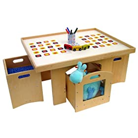 A Childsupply Toddler Play Table with Storage and 2 Chairs
