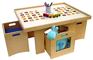 a childsupply toddler play table with storage and 2 chairs toys games. Black Bedroom Furniture Sets. Home Design Ideas