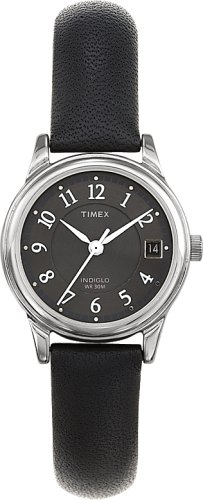 Timex Ladies Black Leather Strap Watch - T29291PF